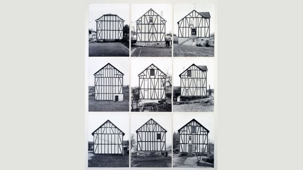 They organised their images – including these Half-Timber Houses – according to type, and referred to each grid of images as a 'typology' (Credit: Estate Bernd & Hilla Becher)