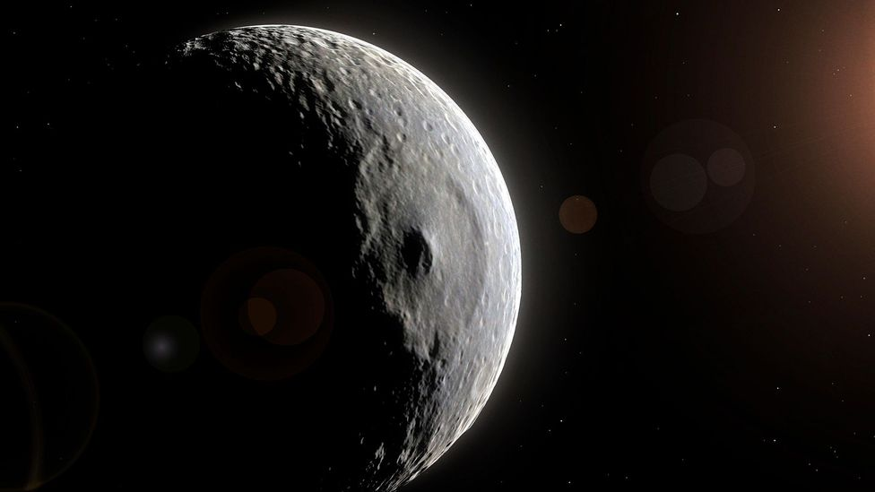 Not a space station, but a moon: Mimas, dubbed 'The Death Star' by Nasa scientists (Credit: Alamy)