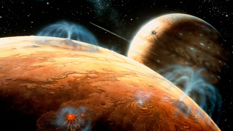 Voyager 1 witnessed enormous geysers on the moon of Io, as seen in this artist's impression (Credit: Science Photo Library)