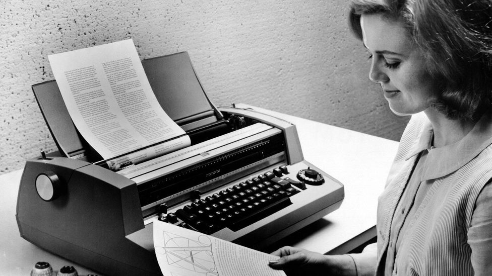The IBM Selectric typewriter could store information and was a precursor to computer-based work. Its introduction marked a change in office technology (Credit: Getty Images)