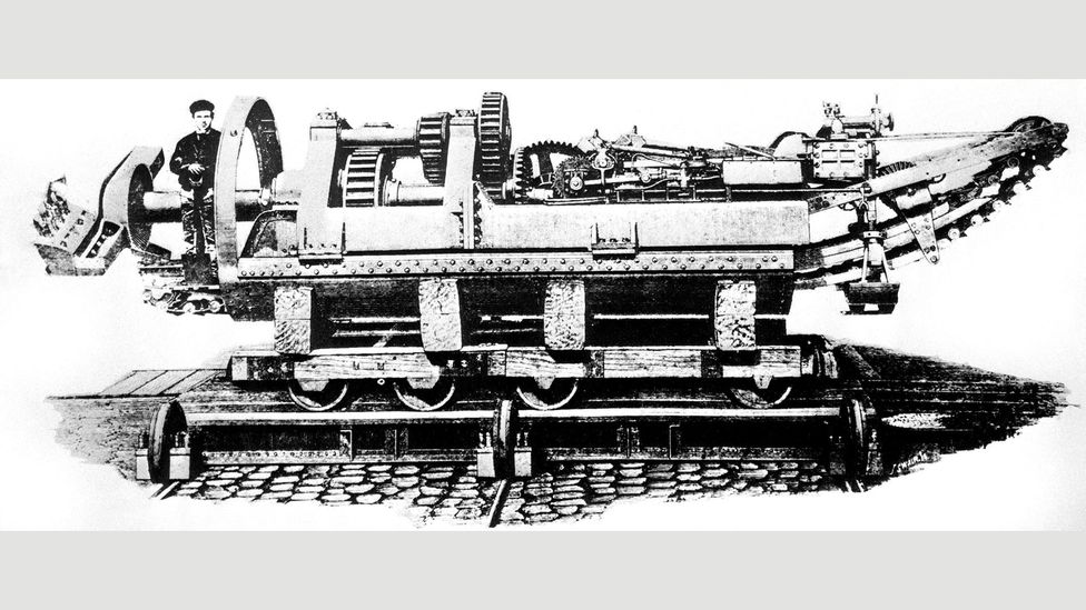 In 1880, the South Eastern Railway Company used boring machines of the type shown here to tunnel an undersea connection with France (Credit: Alamy)