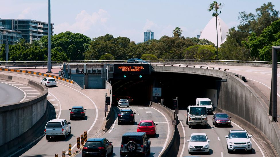 The Sydney Harbour Tunnel, whose entrance is shown here, uses the same immersed tube design that other large projects will use (Credit: Alamy)