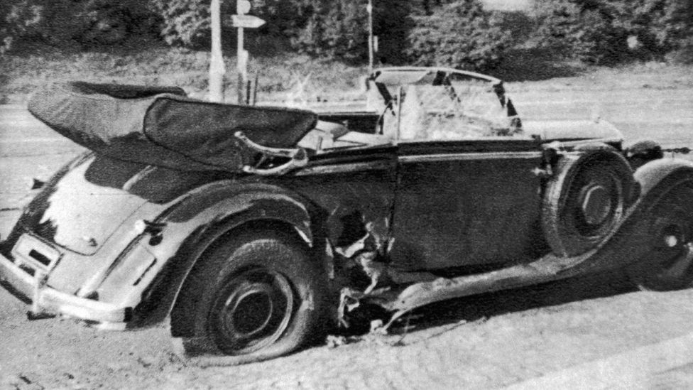 Josef Gabčík and Jan Kubiš, the soldiers selected as Heydrich's assassins, threw an anti-tank grenade at his car (Credit: Keystone-France/Getty Images)