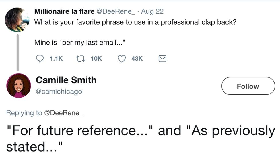 A deluge of people related to René's email tactics after her tweet (Credit: Twitter)