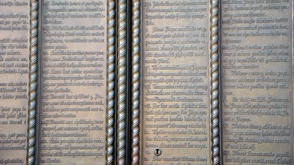 The doors of Castle Church now bear Martin Luther's 95 Theses (Credit: Madhvi Ramani)