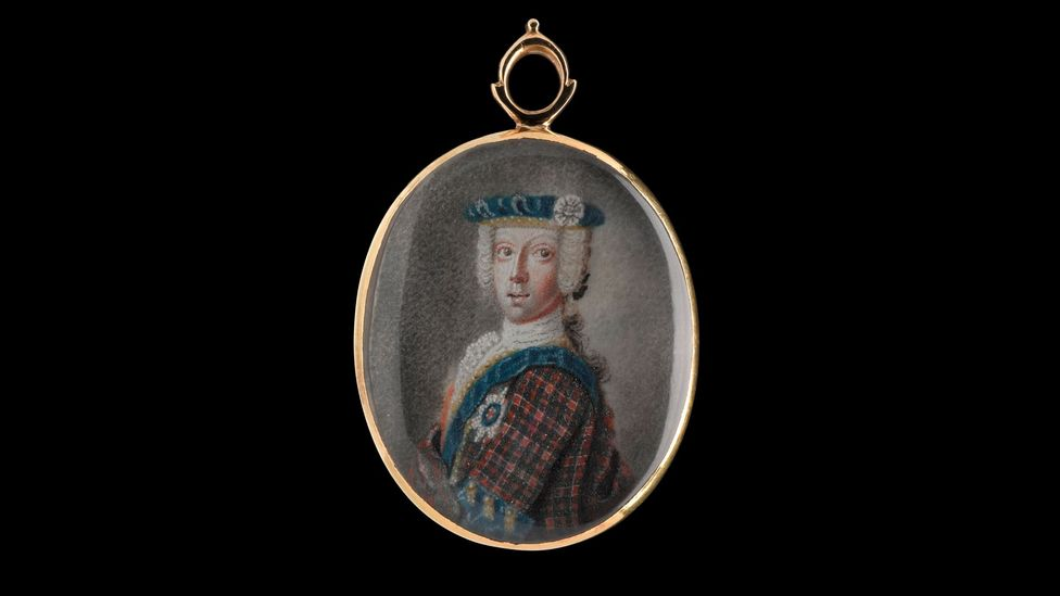 A locket depicting the prince in tartan is featured in an exhibition about Bonnie Prince Charlie and the Jacobites (Credit: National Gallery of Scotland)