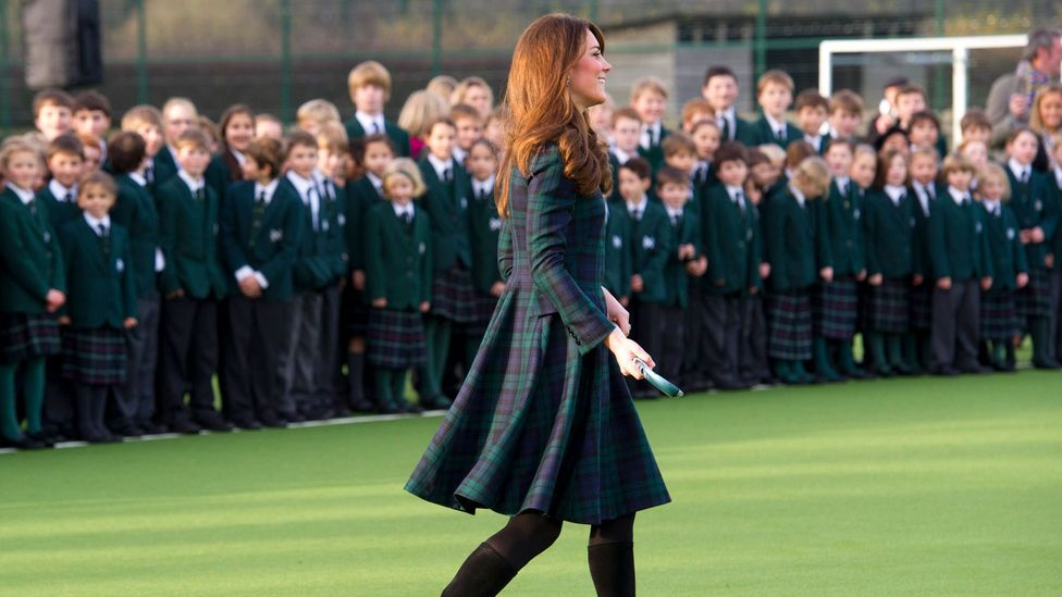 Catherine, Duchess of Cambridge wears a Black Watch tartan ensemble as she visits St Andrew's School in Berkshire (Credit: Arthur Edwards/WPA Pool/Getty Images)