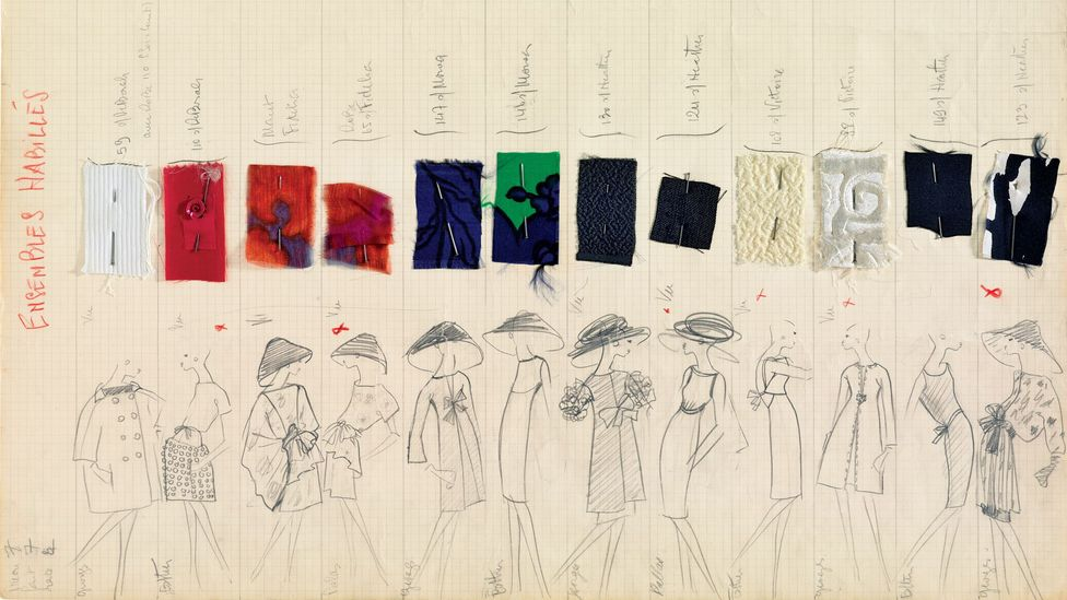 Among the exhibits at the new Paris museum are sketches for the haute-couture collection, spring/summer 1962 (Credit: Fondation Pierre Bergé – Yves Saint Laurent, Paris)