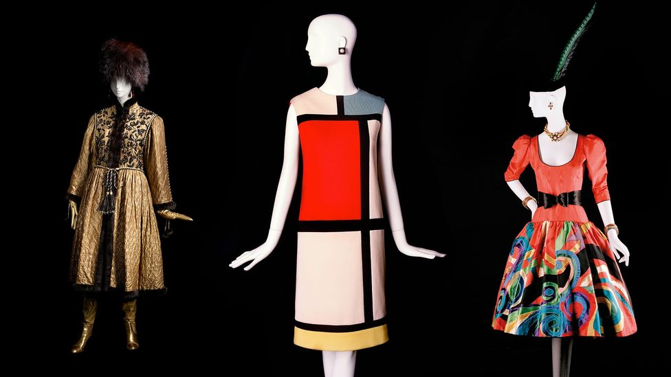 Saint Laurent's designs for Ballet Russe, 1976; Mondrian dress, 1965; homage to Picasso, 1979 (Credit: Fondation Pierre Bergé – Yves Saint Laurent, Paris/Alexandre Guirkinger)