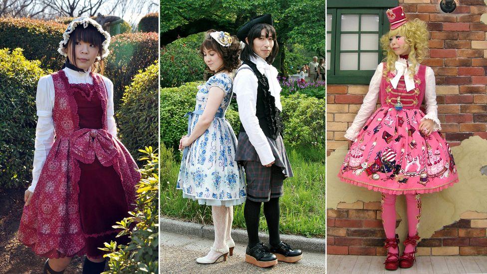 Teen subgroups of Tokyo: Manami Abe dressed in classic Lolita; Momo Matsuura in classic Lolita, Sphere in Ouji style and Haru in sweet Lolita (Credit: Masato Imai/Momo Matsuura)