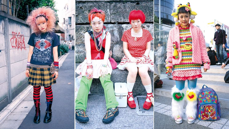 From gothic to 'kawaii' (cute), a vast array of sartorial styles emerged from the pedestrianised streets of Harajuku, the birthplace of Japanese teen style (Credit: Shoichi Aoki)