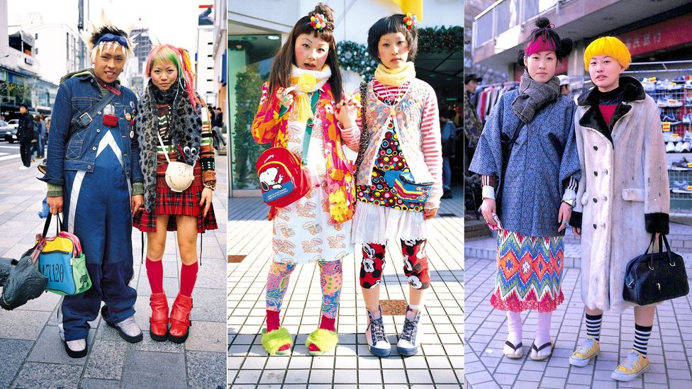 The cartoonish eccentricity of Harajuku teen groups was documented by photographer and editor Shoichi Aoki in the pages of FRUiTS magazine (Credit: Shoichi Aoki)