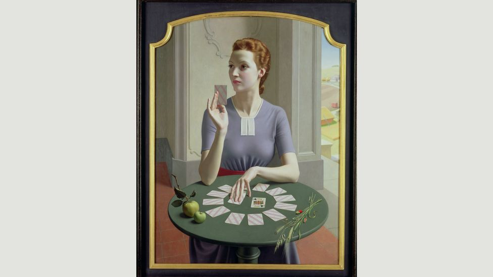 Some of his best-known pictures, including Portrait of a Young Woman and A Game of Patience, depict attractive young women in chic outfits (Credit: Bridgeman Images)