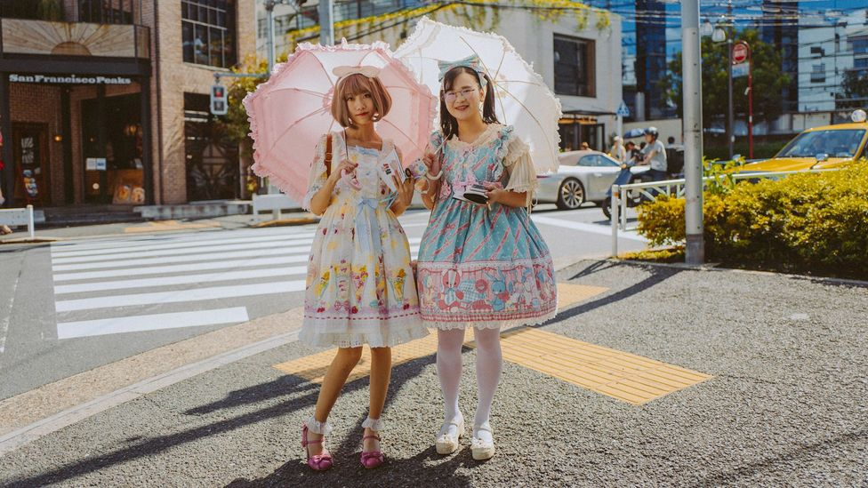 Teen subgroups are declining in Harajuku, though some can still be spotted now, such as these Lolita girls dressed in frills, pictured in September 2017 (Credit: Joshua Lawrence)
