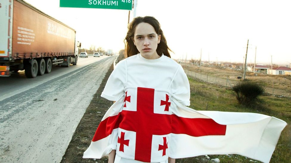 Georgian brand Situationist used the national flag in a 2015 collection, in a nod to Mother Georgia and the work of Georgian women (Credit: Grigor Devejiev/Situationist)