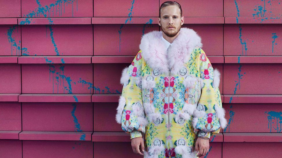 Ekaterina Tkachenko's designs feature outlandish faux fur on suits, and drawings of Russian President Putin (Credit: Ekaterina Tkachenko)
