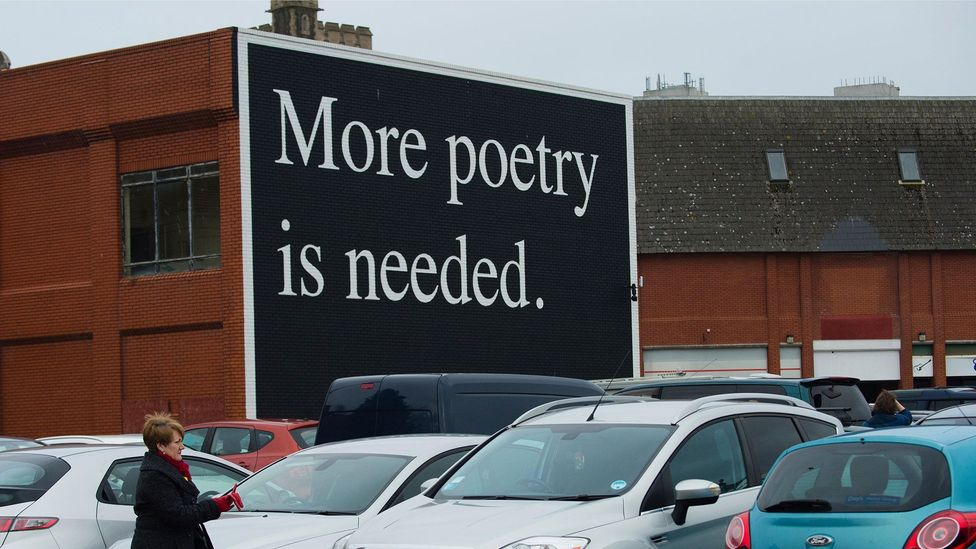 More Poetry is Needed billboard public art by Jeremy Deller in Swansea; Sieghart has spent 25 years trying to inject poetry into everyday lives (Credit: Alamy)