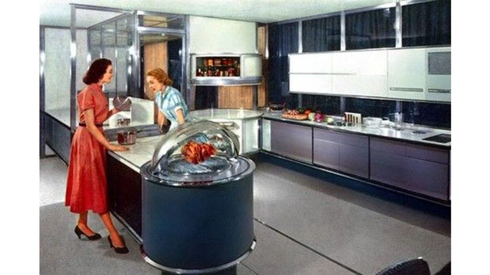 The Frigidaire Dream Kitchen of Tomorrow suggested that an IBM punchcard could be entered into a machine that would automatically prepare the desired food (Credit: Frigidaire)