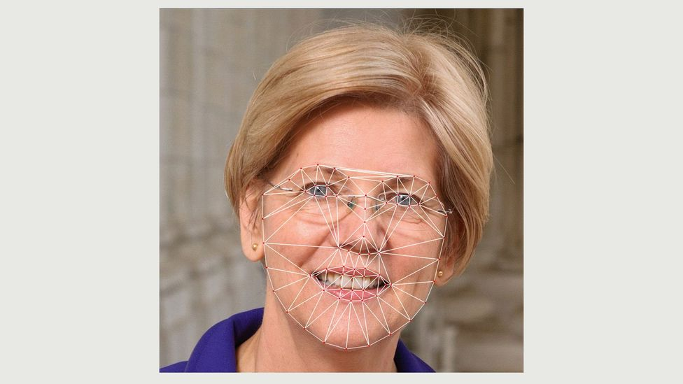 The technique plots various points on a face, then averages their position - as shown in this image of Democrat Elizabeth Warren (Credit: Giuseppe Sollazzo)