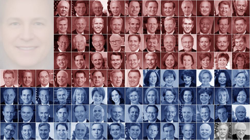 The Senator faces we used, plus Senate composite only (top left). Red=Republican, Blue=Democrat, Grey=Independent (Credit: Javier Hirschfeld/Giuseppe Sollazzo)