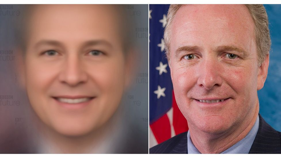 Composite of all faces in Congress (left), and Democrat Chris Van Hollen (right), who our analysis suggested was the Senator with most similar features (Credit: Giuseppe Sollazzo)