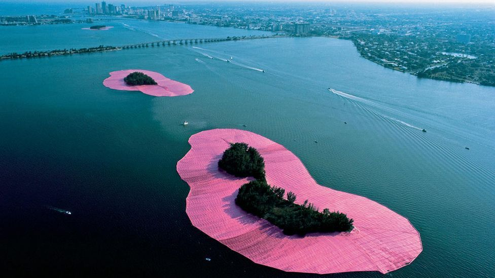 Christo and Jeanne-Claude, Surrounded Islands, 1983 (Credit: Christo and Jeanne-Claude)