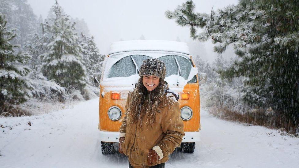 Kit Whistler (aka Rachel Goldfarb) and her VW camper van (Credit: Idle Theory Bus)