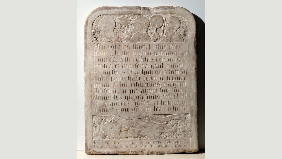Tombstone of Nicolas Flamel (Credit: Paris, Musée de Cluny – Musee National du Moyen Age)