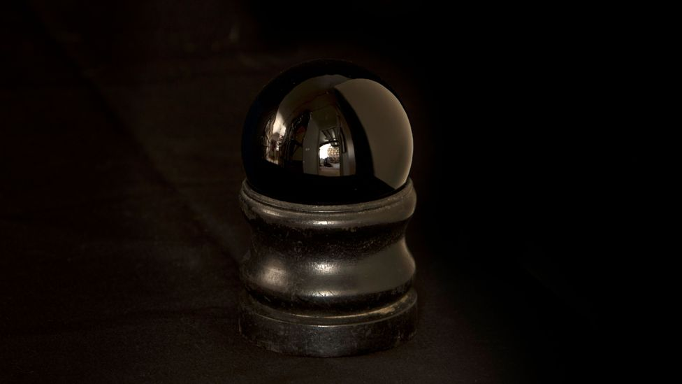 Small black crystal ball, used by Paignton witch 'Smelly Nelly' (Credit: Museum of Witchcraft, Boscastle)