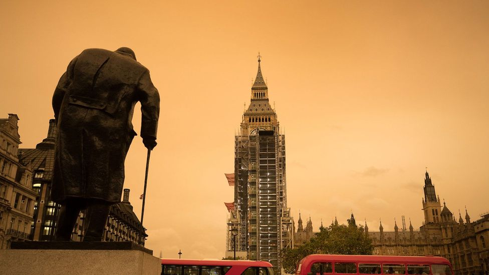 Hurricane Ophelia whipped up Saharan dust earlier this week, resulting in hazy skies, such as this one photographed at Parliament Square in London (Credit: Peter Macdiarmid/LNP)