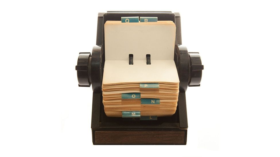 Back in the 1950s, rolodex cards were a popular way of storing the details of business contacts (Credit: Alamy)