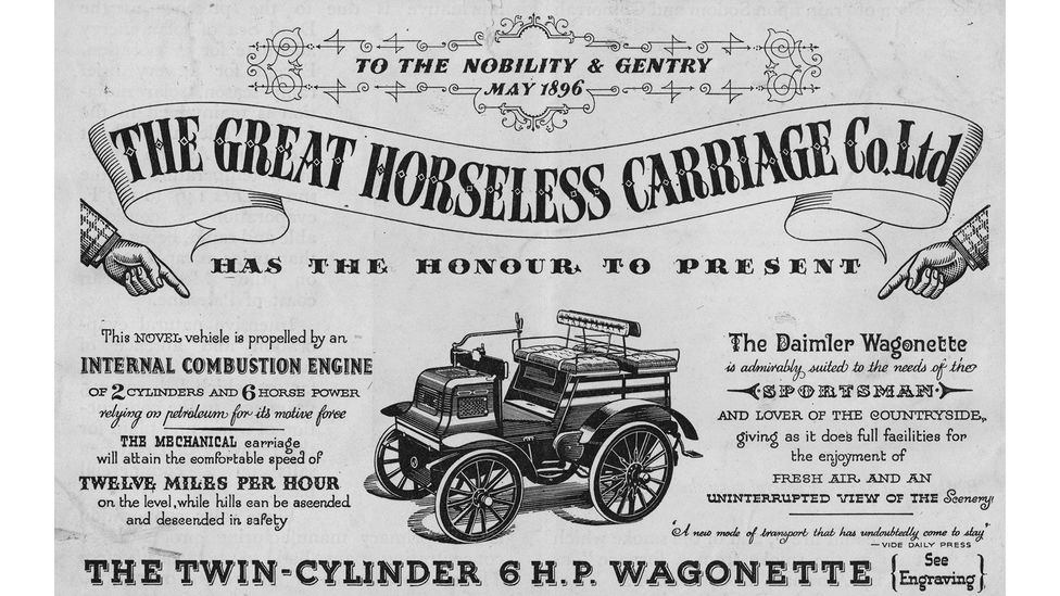 """Early cars looked very similar to hose-drawn carriages and were even known as """"horseless carriages"""" (Credit: Getty Images)"""
