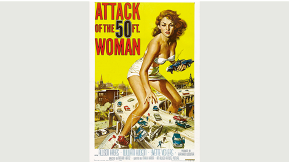 'Attack of the 50ft Woman,' a 1958 American science fiction feature film produced by Bernard Woolner (Credit: Getty Images)