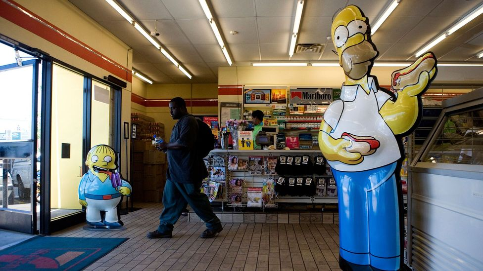 In 2007 the convenience store chain 7-Eleven remodeled 11 of its locations in the US to appear as Kwik-E-Marts, in honour of The Simpsons Movie (Credit: Alamy)