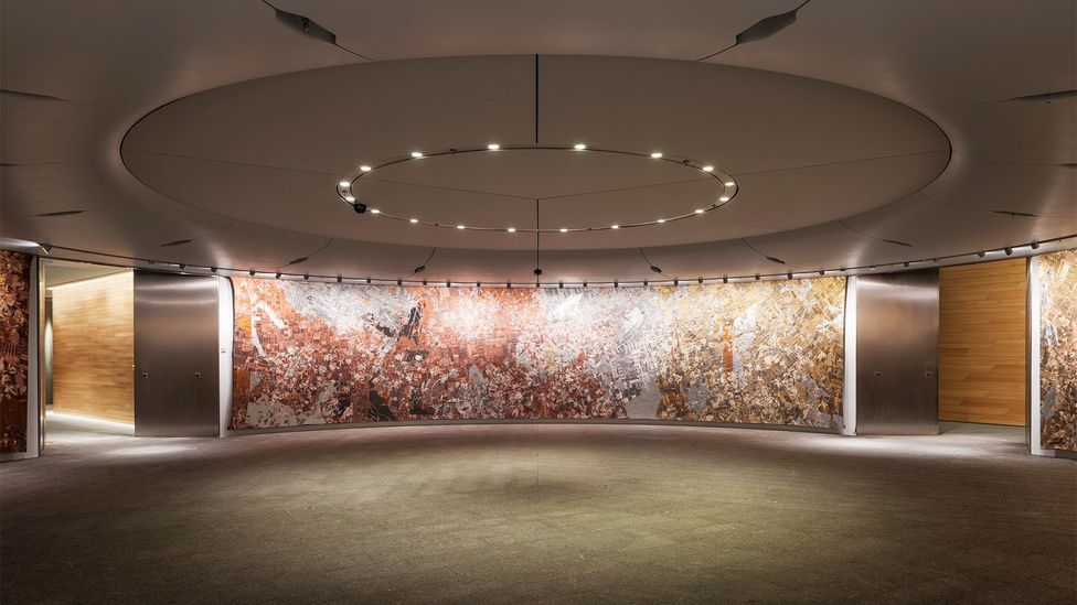 A flexible event space is enveloped by a luxurious tapestry work by American visual artist Pae White (Credit: James Newton)