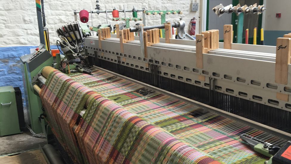 After the hand-looming process, the Wallace Sewell textiles are then woven at a family-run mill in Lancashire