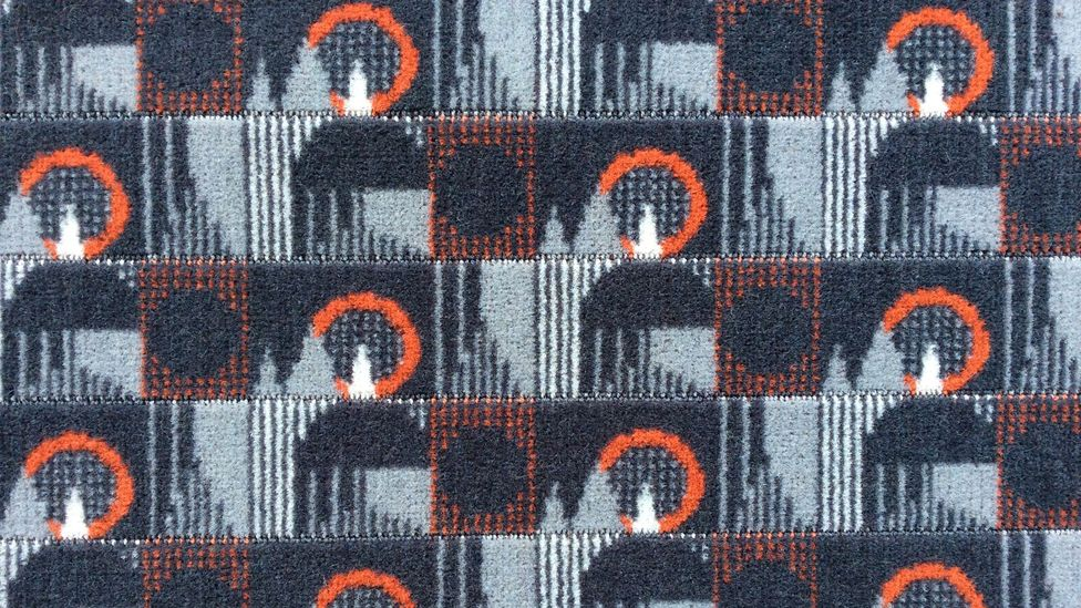 The design for the tube's Bakerloo-line moquette fabric is typical of the Wallace Sewell style, combining strong geometric pattern with a distinctive colour palette