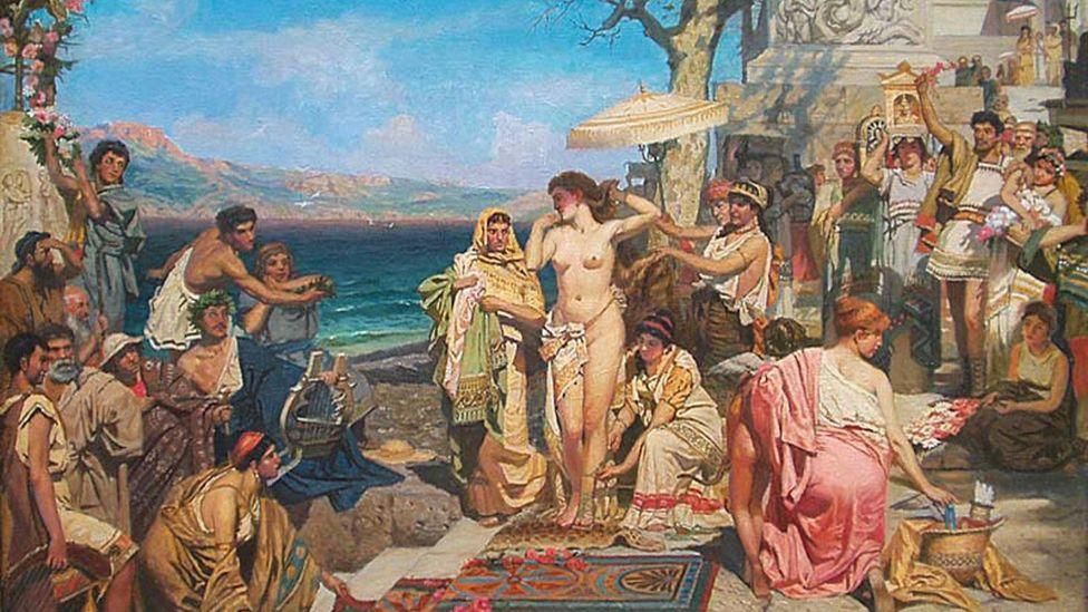 Painter Henryk Siemiradzki depicted Phryne enchanting the crowd at the Festival of Poseidon in Eleusis (Credit: Alamy)