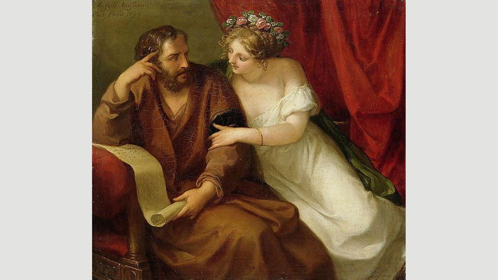In 1794 Angelica Kauffman painted this image of Phryne trying, and failing, to seduce the philosopher Xenocrates (Credit: Alamy)