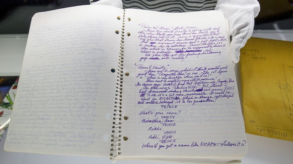 Some handwriting proponents point out its artistic and historic merit - seen here is singer Prince's handwritten prescript of Purple Rain (Credit: Tolga Akmen/AFP/Getty Images)