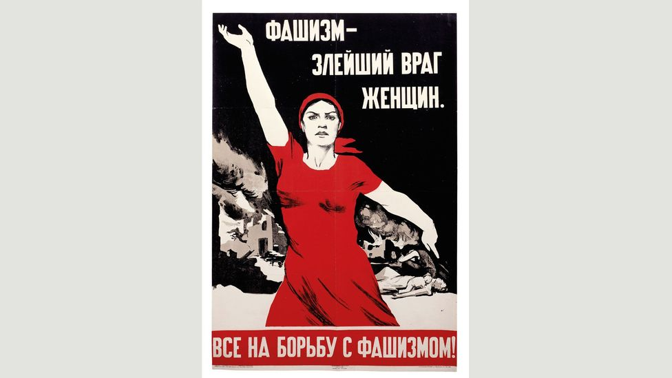 Nina Vatolina used her neighbour as the model for the defiant woman in this 1941 image, Fascism: The Most Evil Enemy of Women (Credit: The David King Collection at Tate)