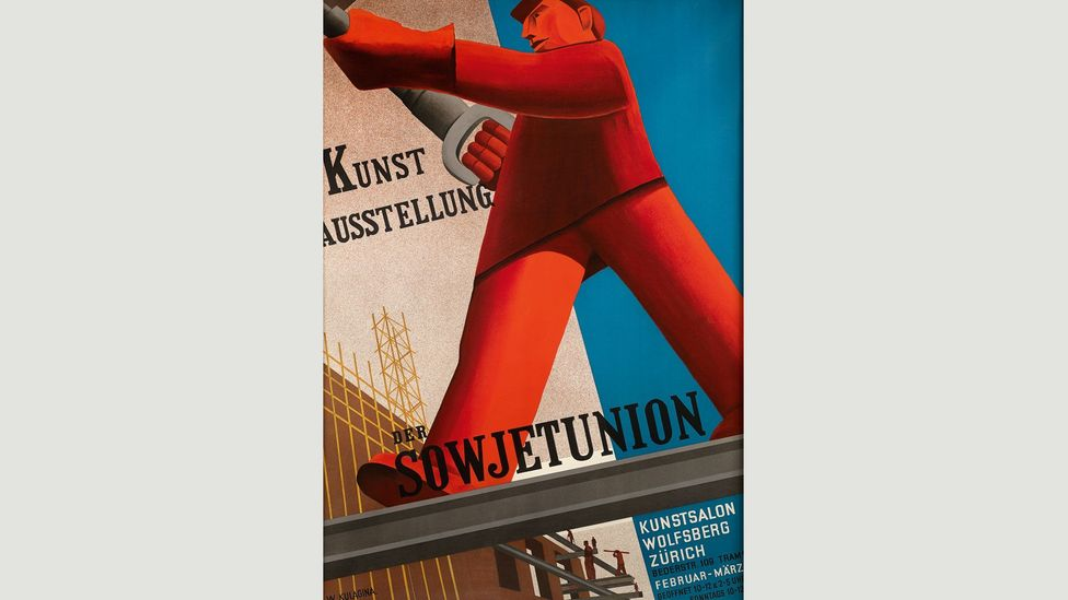 Soviet Union Art Exhibition (1931) by Valentina Kulagina, whose compositions were dominated by giant figures representing manual labour (Credit: The David King Collection at Tate)