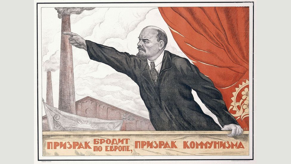 A Spectre is Haunting Europe, the Spectre of Communism (1924) by Valentin Shcherbakov shows a pose in which Lenin was often depicted (Credit: The David King Collection at Tate)
