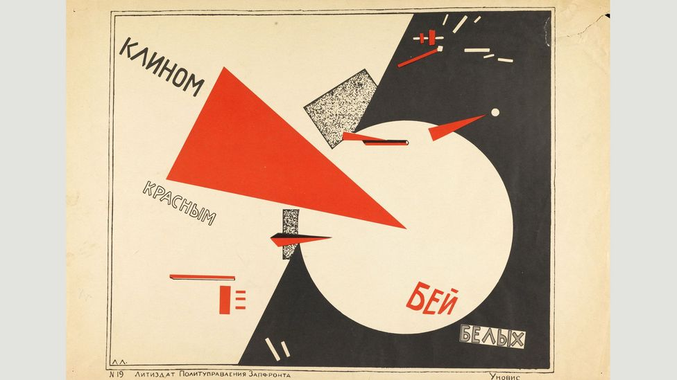 Lissitzky's Beat the Whites with the Red Wedge is a 1920 Russian revolutionary image, portraying the civil war in bold graphics (Credit: The David King Collection at Tate)