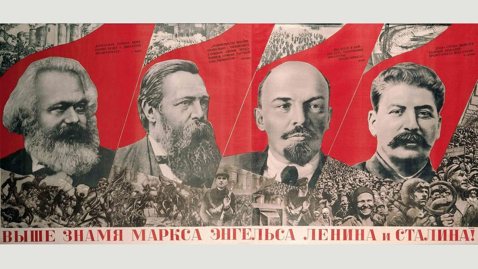 Raise Higher the Banner of Marx, Engels, Lenin and Stalin! (1933) by Klutsis, who was arrested on false charges and executed in 1938 (Credit: The David King Collection at Tate)