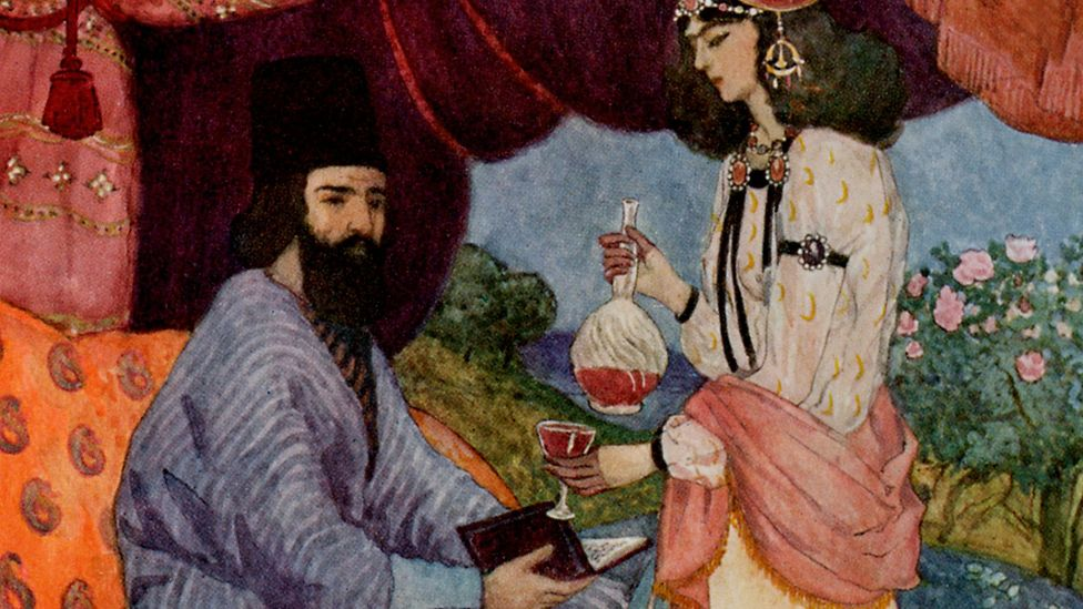 A painting imagining an Arab poet drinking wine. (Credit: Getty Images)