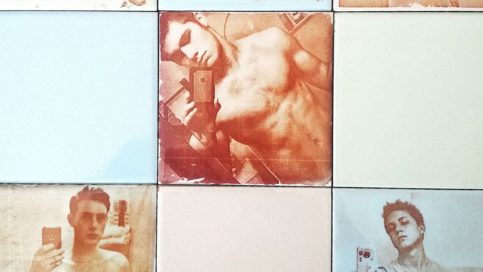 Artist David Trullo makes bathroom tiles with selfies of men taken in their toilets and uploaded to Instagram (Credit: David Trullo)