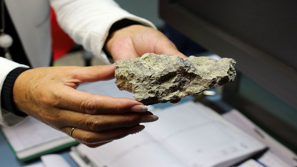 The force of the asteroid impact transformed the existing bedrock into diamond-riddled suevite stone (Credit: Julie Ovgaard)