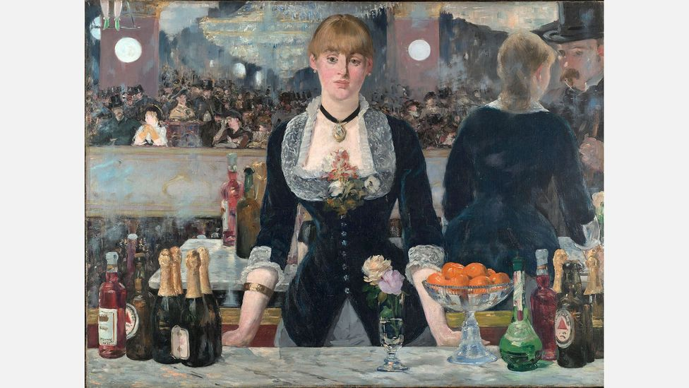 The Bass logo appeared in many works of art in the 19th and 20th Centuries – here in Manet's 1882 painting A Bar at the Folies-Bergère (Credit: Edouard Manet)