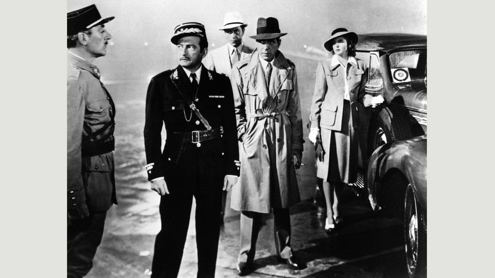 Police chief Renault (Claude Rains) exchanges exit visas for sexual favours – viewed initially in the film as a harmless game (Credit: Alamy)